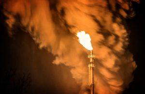 methane flare at oil production site
